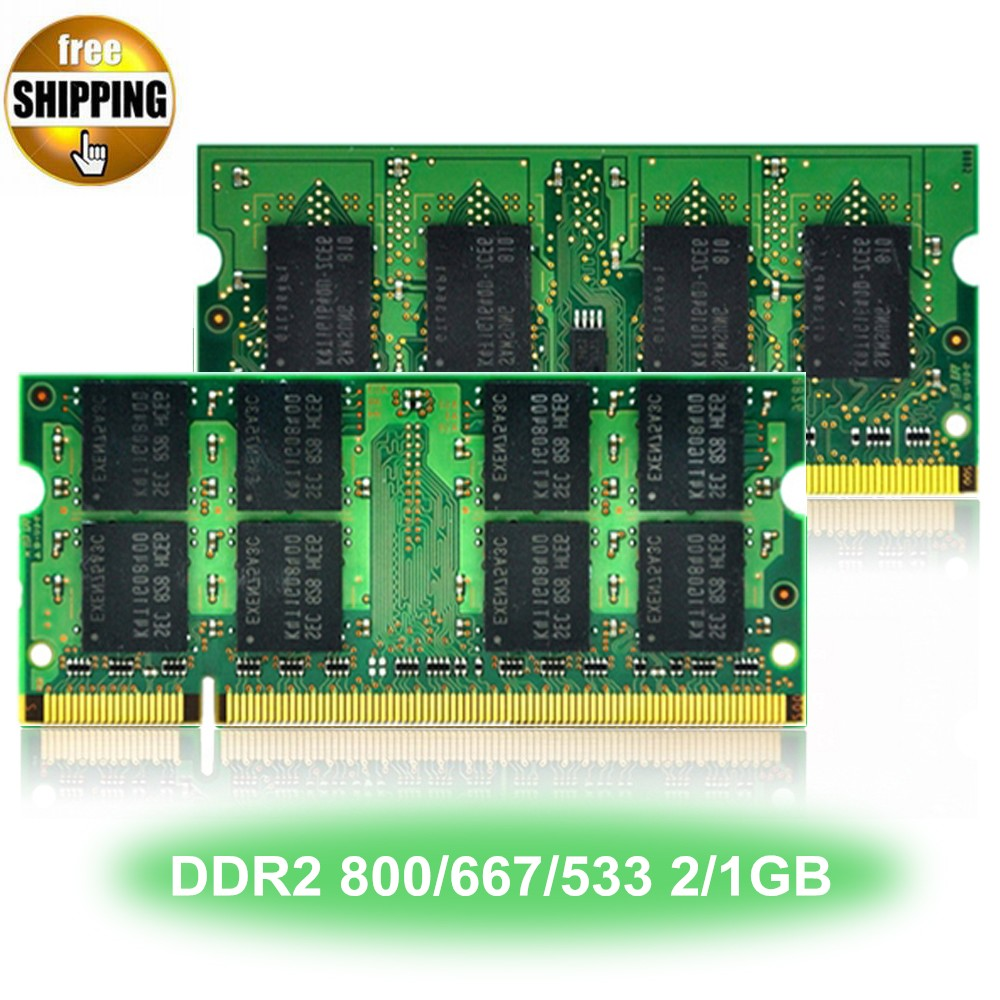 Laptop Memory Module <font><b>Ram</b></font> SDRAM DDR 2 <font><b>DDR2</b></font> 800 667 533 MHz 200-PIN 2/1GB SO-DIMM PC2-6400 5300 4200 CL5 <font><b>Notebook</b></font> Computer Sodimm image