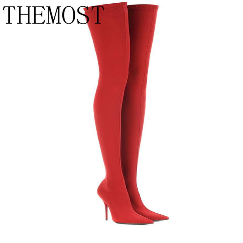 THEMOST2017 Winter Summer Sexy Thigh High Boots Satin Stretch Elastic Over The Knee Sky Slim High Heels Long Boots Women Shoes 2017 summer green over the knee sock boots knit stretch women winter boots high heels shoes sexy thigh high boots open toe