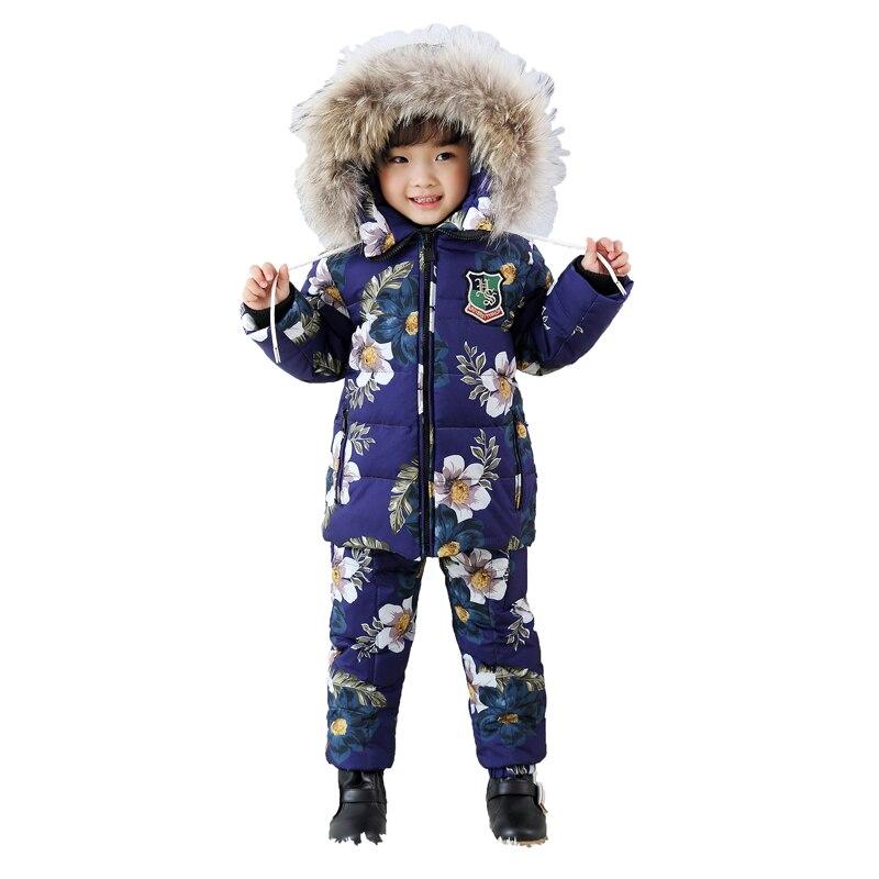 Kids Clothes Boys Winter Luxury Brand 2-8 Age Children Jackets Two-Piece Set Warm Fur Down fur Outerwear+Trousers Ski Suit
