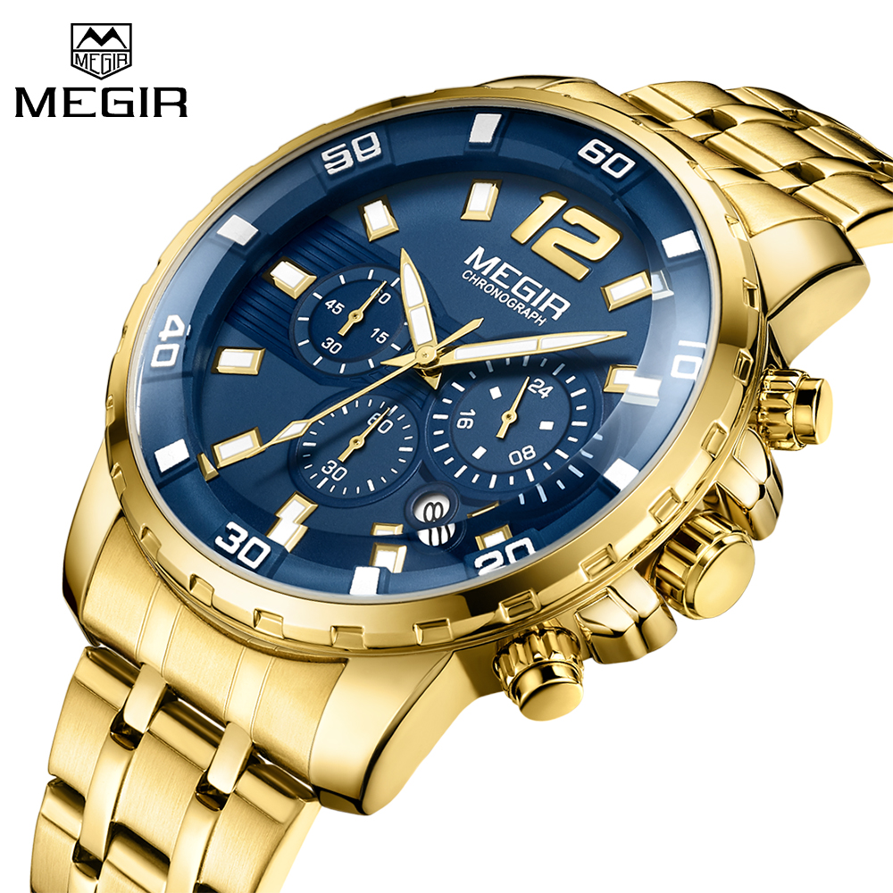 La parte superior de la marca de lujo reloj MEGIR relojes de los hombres de oro de acero inoxidable para hombre deportes reloj de cuarzo esfera azul reloj hombre reloj Masculino