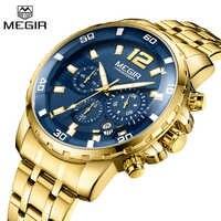 Relojes de negocios MEGIR de marca de lujo para hombre reloj de cuarzo deportivo de acero inoxidable para hombre reloj de esfera azul para hombre