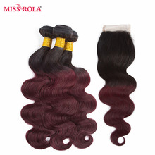 Miss Rola Hair Peruvian Body Wave Hair Weaving 3 Bundles With Closure #T1B/99J Color  100% Human  Non-Remy Hair Extensions Haare