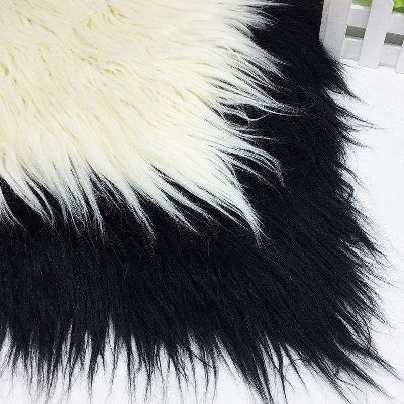 Plage laine peluche daim tissu composite blanc noir fourrure pile 10 cm hauteur