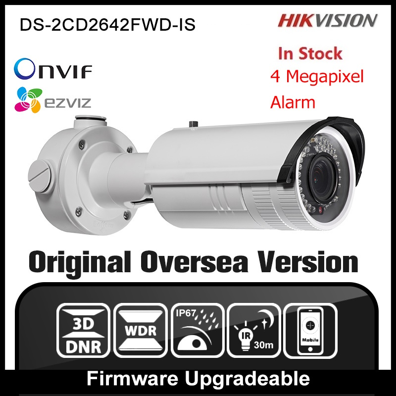 Hikvision DS-2CD2642FWD-IS Original English Version IP Camera 4MP CCTV Security Camera Onvif POE IPC H264 Network camera P2P HIK hikvision ds 2ae5123t a original english version 2mp ptz ip camera cctv security camera surveillance poe onvif 4k hd network