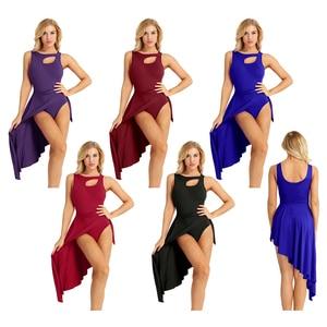 Image 2 - 성인 높은 낮은 서정적 인 댄스 의상 발레 투투 드레스 프론트 무대 공연 체조 레오타드 댄스 복장 여성을위한 잘라 내기