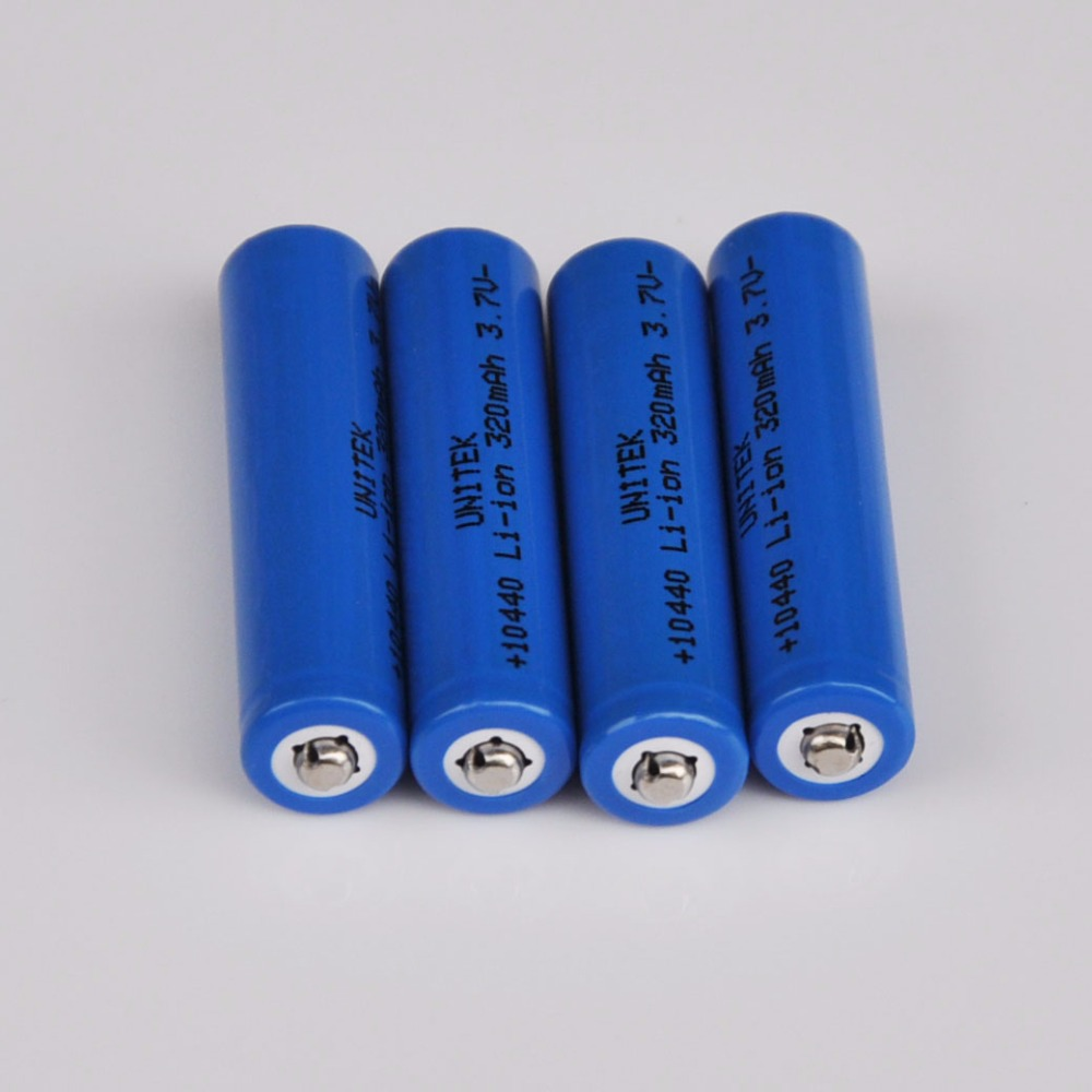 4PCS <font><b>3.7V</b></font> Rechargeable lithium ion battery 10440 ICR10440 <font><b>320mah</b></font> AAA size li-ion cell for LED flashlight torch toys image