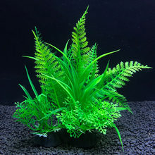 Simulation plantes artificielles Aquarium décor eau mauvaises herbes ornement plante Aquarium Aquarium herbe 14Cm décoration(China)