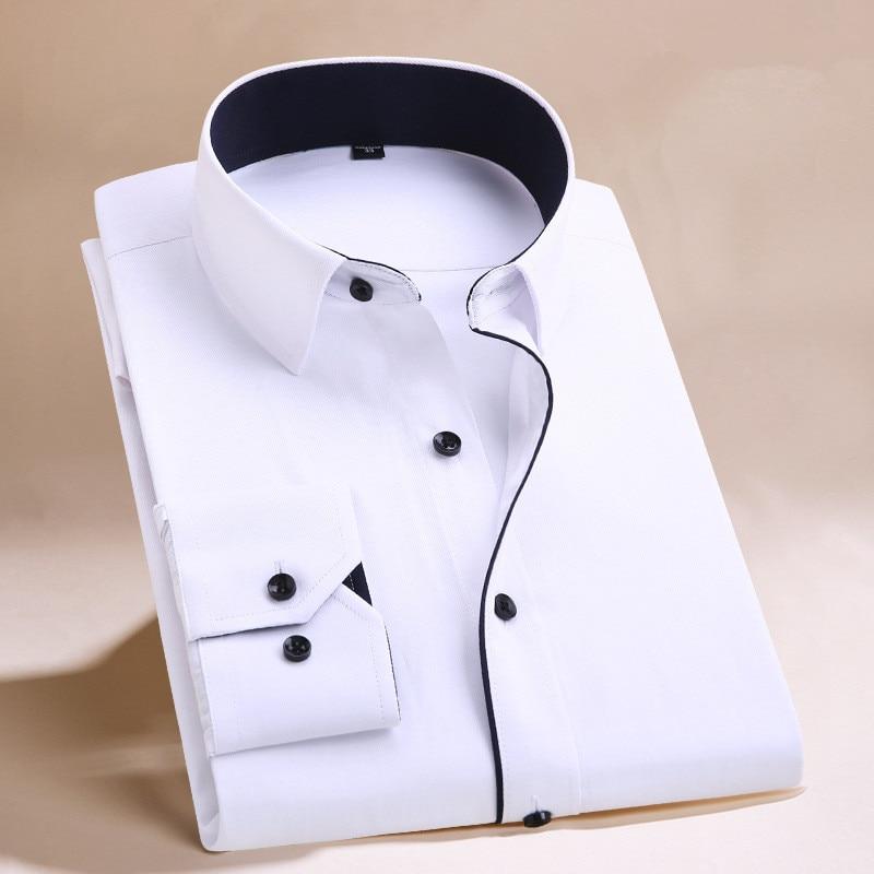 unisplendor Men Dress Shirts 2020 New Man Fashion Long Sleeve Slim Fit High Quality Solid Casual Business Man's Shirt 4XL YN630 4