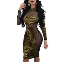 Spring Autumn Women Bronzing Bodycon Sheath Dress Ladies casual Sexy Night Club Party Mesh Patchwork Transparent Mini Dresses