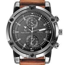 Mode Casual Hommes de Montres De Luxe V6 Marque Montres Horloge Élégant En Acier Surdimensionné Cadran Relogio Masculino Bracelet En Cuir Décontractée