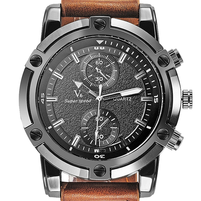 stylish watch brands promotion shop for promotional stylish watch casual fashion men s watches luxury v6 brand watches clock stylish oversize steel dial relogio masculino casual leather bracelet