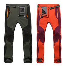 2018 New Winter Men Women Stretch Waterproof Casual Pants Warm Fleece Softshell Trousers Windproof Tactical Softshell
