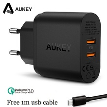 AUKEY 36 W Rapide Chargeur Charge Rapide 3.0 Double USB Chargeur Mural pour Samsung galaxy s8 Xiaomi Mi5 redmi 4x iPhone LG HTC Huawei etc