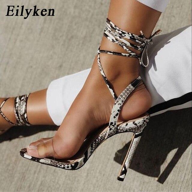 Eilyken Cinturino Alla Caviglia Cross-legato Sandali Delle Donne Degli Alti Talloni Sexy pelle di Serpente del grano Sandali Lace-Up Scarpe di Alta Qualità