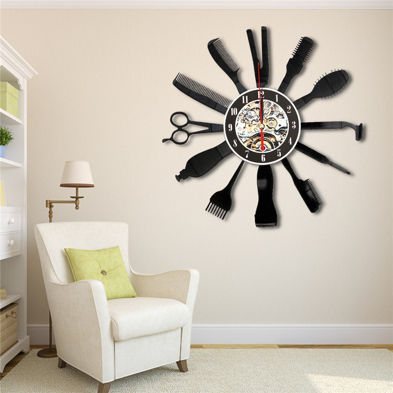 Charminer Hairdresser Salon Tool Art Vinyl Black Record Wall Clock Home Room Decor Gift Vinyl Record App 30cmX30cm High Quality