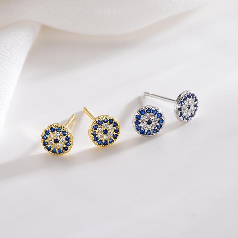 Blue Eye Studs Earring Evil Eye Nazar Boncuk Earrings Hoop Gold or Silber