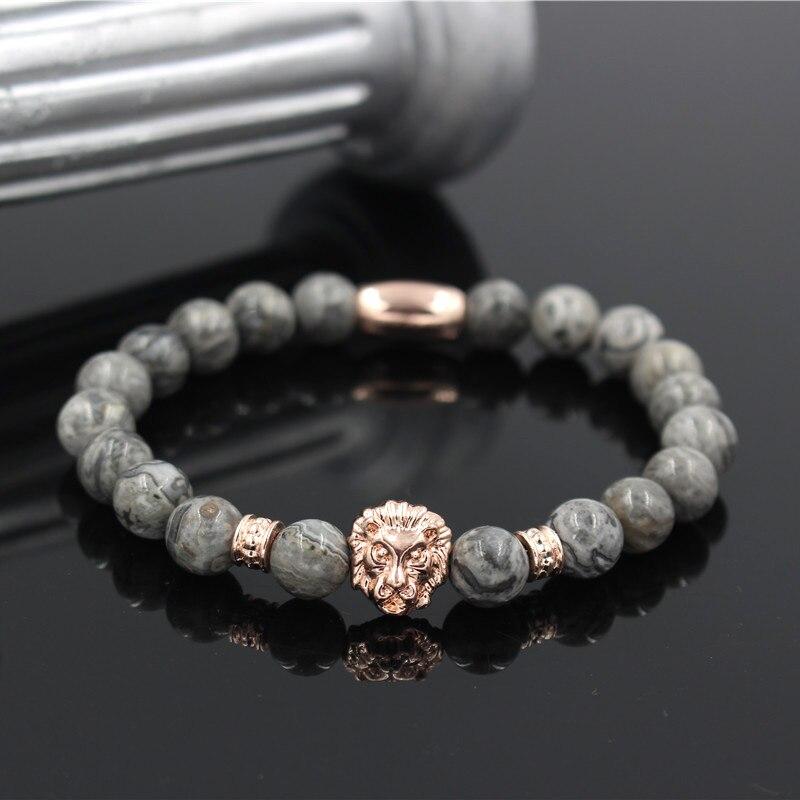Bead Bracelet Pulseiras Masculinas Natural Stone Lion Head Bracelet Women Pulseras Hombre Bracciali Men's Bracelets