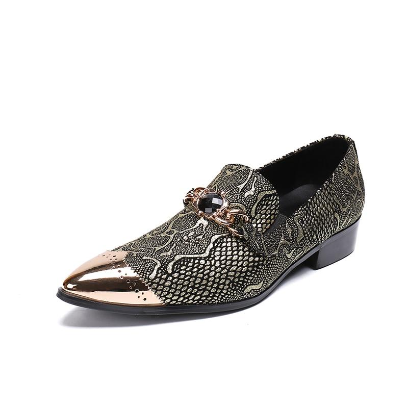 Chaussure Business Sexy Männer Homme Metallketten Spitz Kristall Mit Wohnungen Leder Hochzeit Formelle Creepers Schuhe Aus Echtem Kleidung 8B68r4nq