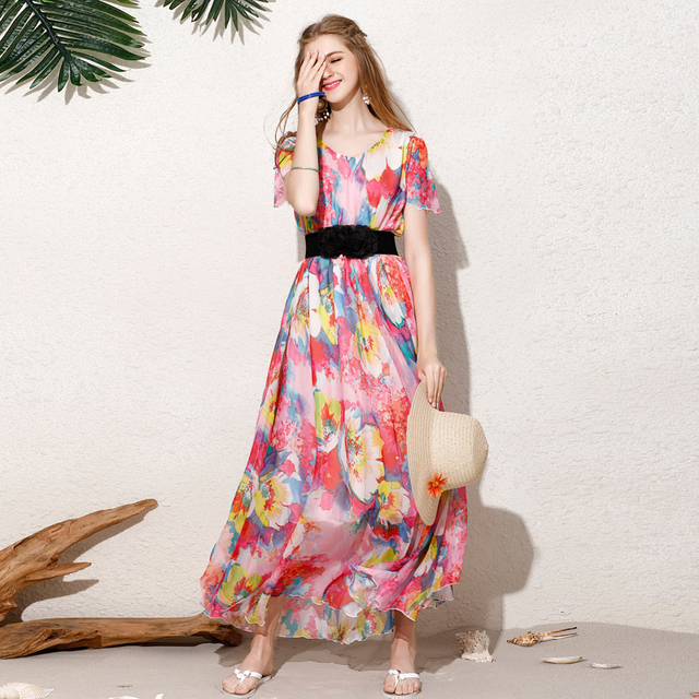 2018 Chiffon Long Dresses Summer Ladies Floral Cap Sleeve V Neck