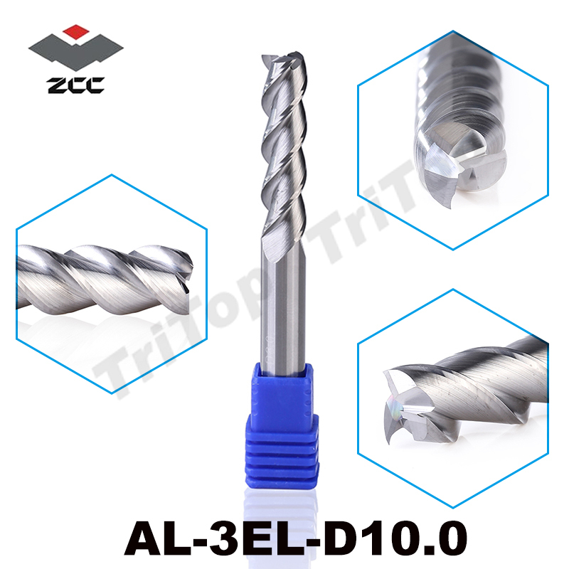 100% Guarantee Original ZCCCT AL-3EL-D10.0 Solid carbide 3 flute flattened end mill 10mm with long cutting edge milling tools al 2el d20 0 zcc ct cemented carbide 2 flute flattened end mills long cutting edge cnc end mill