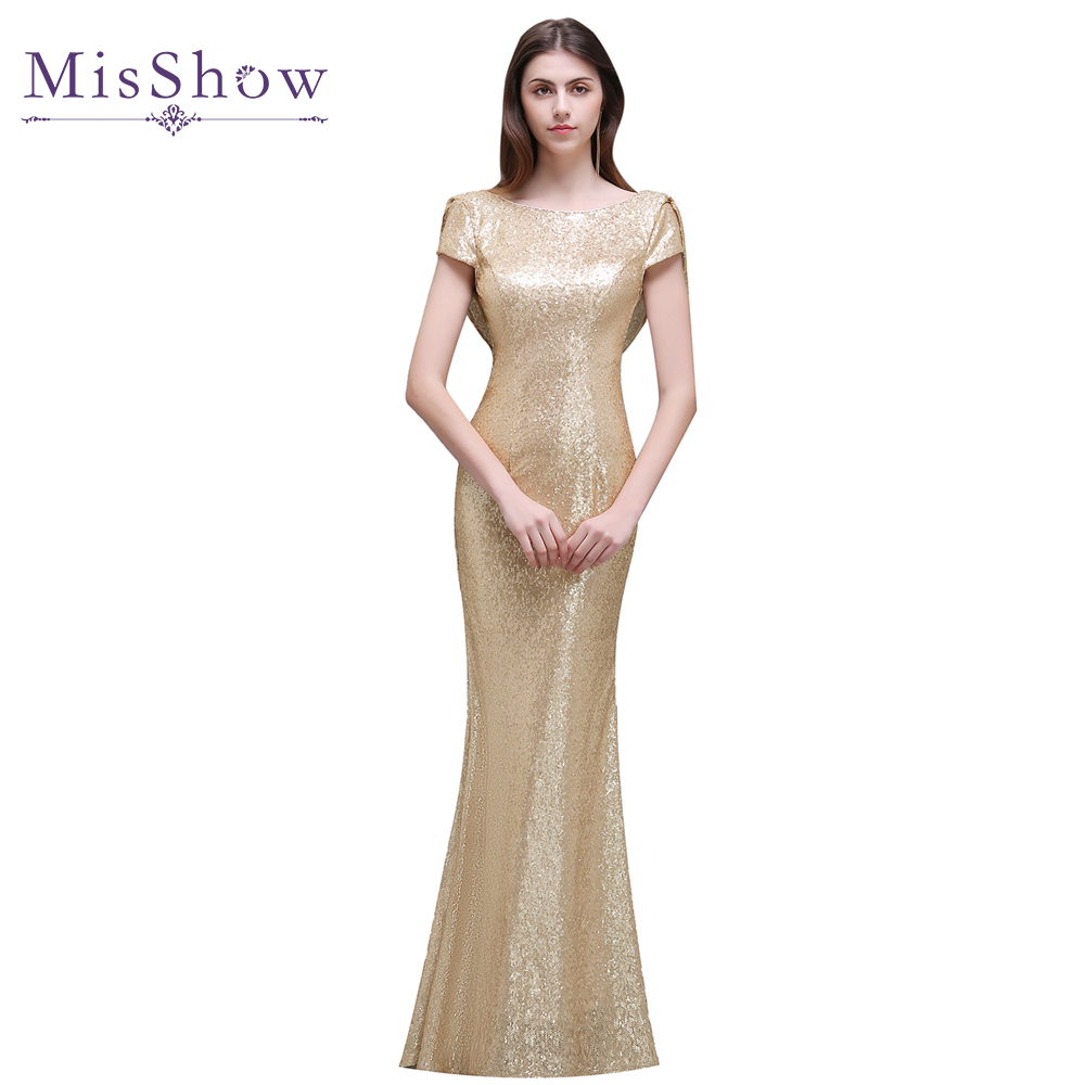 Luxury Rose Gold Silver Long Sequin Evening Dress 2017