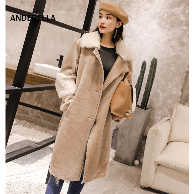 2018 Natural Real Fur Lambskin Coat Women Sheepskin Overcoat Autumn Winter X-Long Length With Fur Collar Merino Sheep Fur Coat