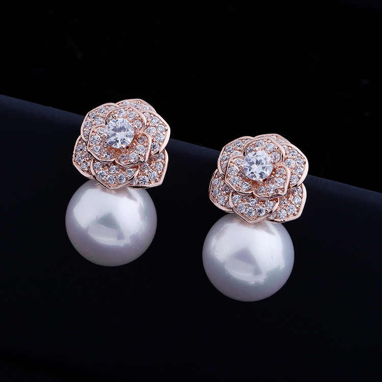 High Quality Fashion Rose Camellia Pearl Earrings Earrings Micro Inlay AAA  Zircon Garment Accessories 96a4b123a2aa