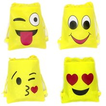 10pcs/lot Happy Birthday Yellow Drawstring Gifts Bags Baby Shower Party Backpack Kids Girls Favors Emoji Theme Decorate Mochila