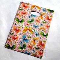 Heißer 100 teile/los 20*25 cm Ziemlich Schmetterling Muster Kunststoff-geschenk-beutel Einkaufstasche Großhandel Los freies verschiffen 171226,1
