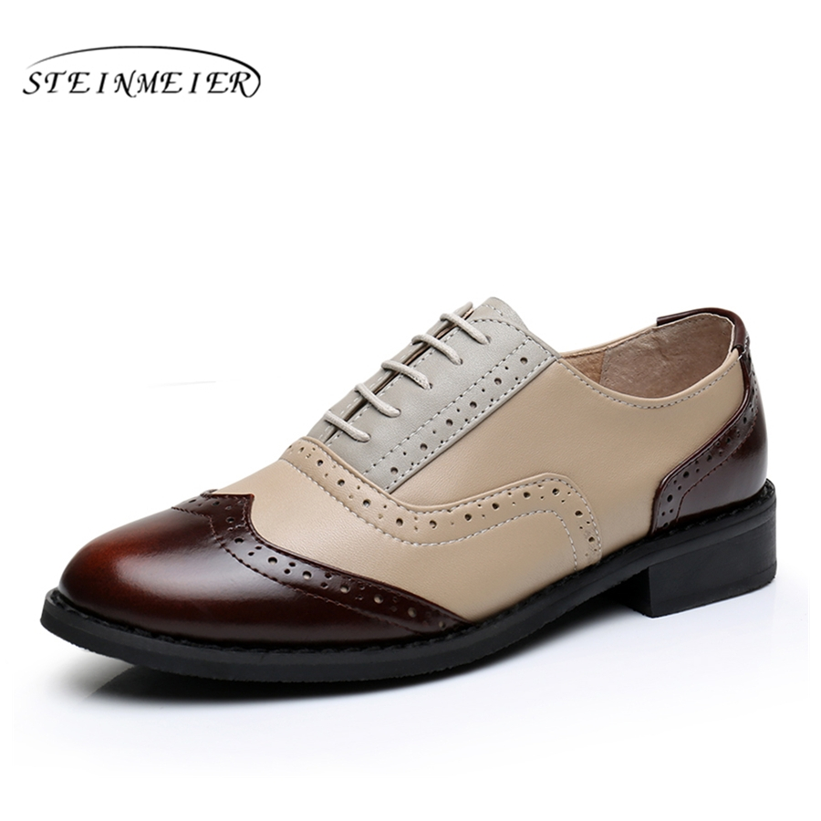 Genuine cow leather casual designer vintage lady flats shoes handmade oxford shoes for women brown beige silver blue with fur 100% genuine cow leather brogue casual designer vintage lady flats shoes handmade oxford shoes for women with fur brown