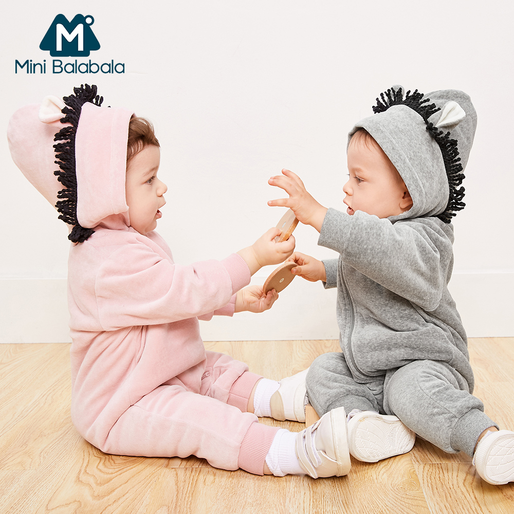 Mini Balabala Baby Critter   Romper   Long Sleeve Cotton Sherpa-lined Hoodie One-Piece Newborn Infant Baby Girls Boy Outwear Clothes