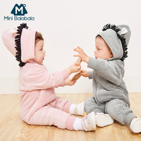 Mini Balabala Baby Critter Romper Long Sleeve Cotton Sherpa lined Hoodie One Piece Newborn Infant Baby Girls Boy Outwear Clothes
