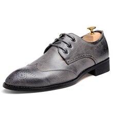 Oxford Chaussures pour Hommes En Cuir Vintage Hommes Robe Chaussures Derbies Imprimer Hommes Appartements Nouveau Solide Richelieus À Talons Bas Taille 38-43