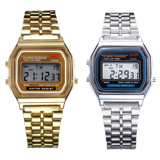 Luxury 2PC Men And Women Watch Gold & Silver Stainless Steel Band Digital Alarm