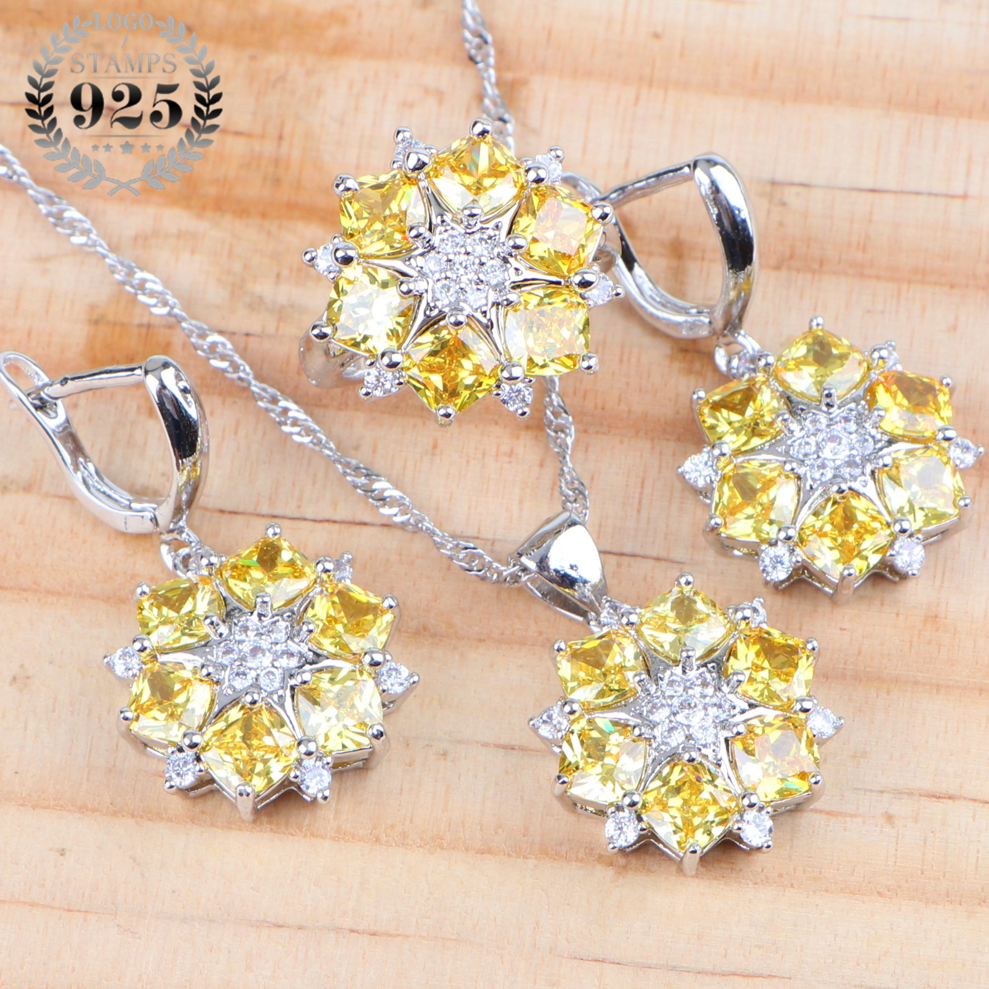 Bridal Yellow Cubic Zirconia Silver 925 Jewelry Sets Costume Earrings Pendant Wedding Necklace Rings For Women Set Gift Box
