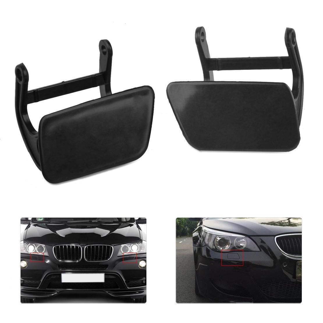 DWCX 2Pcs Car Black Headlight Washer Nozzle Cover Cap 51117060586 51 11 7 060 586 fit For BMW E60 E61 525i 528i 545i 550i 535xi