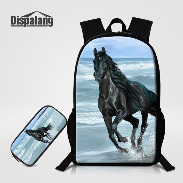 Dispalang Backpack With Horse Unicorn Bagpack Children School Backpacks  Girl Fox Pack Bookbag 2PCS Set Pencil f10d20ec93de7