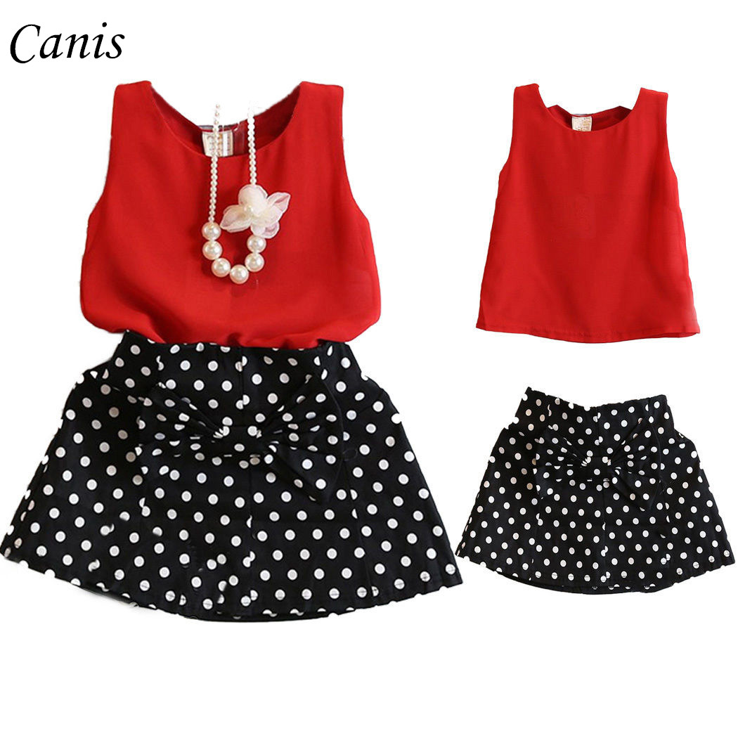 2pcs Fashion Chiffon Tops Dot Dress Clothes Toddler Girls Kids Dress