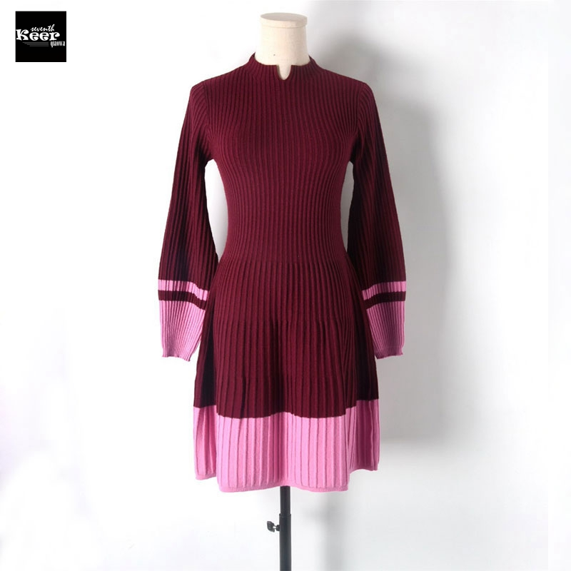 2018 New Striped Winter Slim Basic Knitted Sweater Dresses Women Pleated Contrast Color Casual Dress Autumn Knitwear Vestidos maison jules new junior s medium m pink dotted pleated contrast knit dress $79