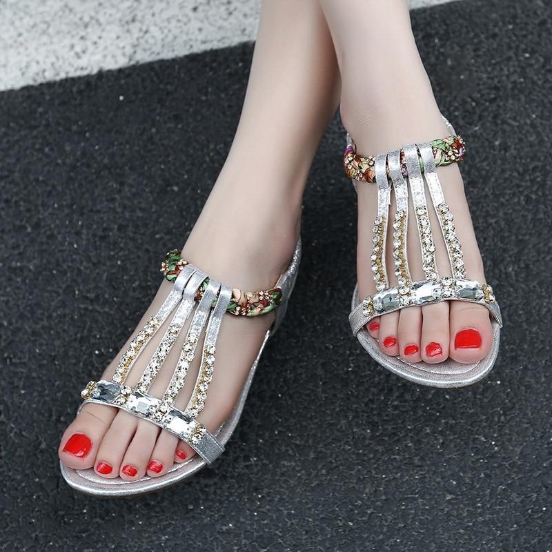 Exquisite weibliche Sandalen Schuhe mit Mode Schuhe Gold Silber - Damenschuhe - Foto 4