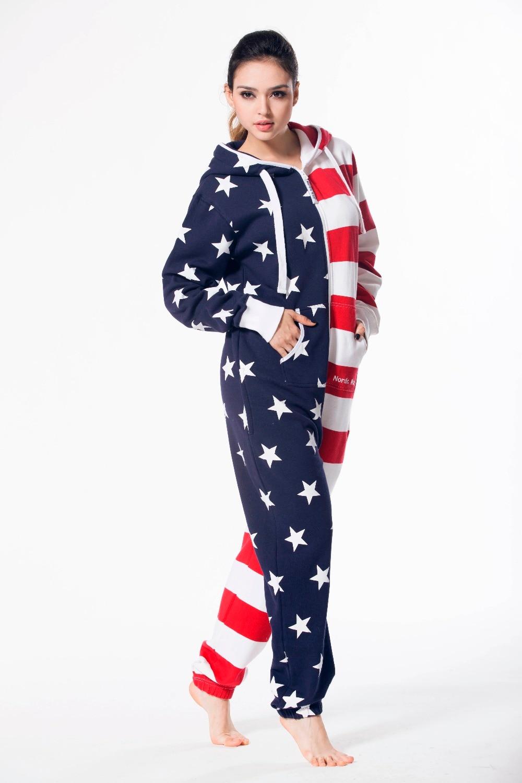 Nordic путь американский флаг унисекс Playsuit Дамы Одна деталь комбинезон с капюшоном флис Playsuit