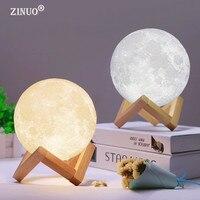ZINUO перезаряжаемая Лунная лампа 2 цвета Изменение 3D свет сенсорный переключатель 3D печать лампа Луна спальня книжный шкаф ночник креативные...