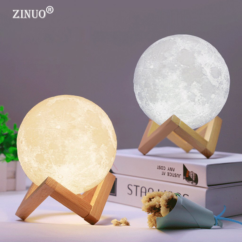 ZINUO Recarregável Luz Lua Lâmpada Mudança de 2 Cores 3D Toque interruptor 3D Impressão Lua Lâmpada Estante Do Quarto Luz Da Noite Criativo presentes