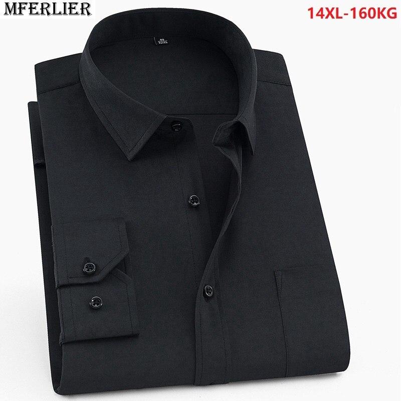 men formal shirt long sleeve classic larger size big 8XL 10X