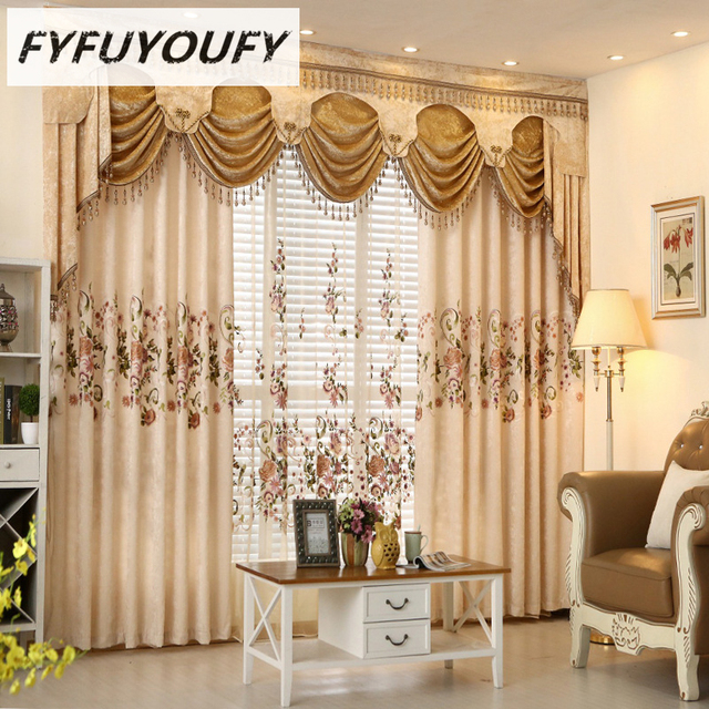 European Luxury Jacquard Embroidered Curtains For Living Room French Windows Bedroom Customized Black