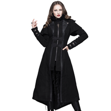 Devil Fashion 2016 Steampunk Long Black Layered Winter Fleece Capes Coats Women Gothic Trench Overcoats with Leather Patch