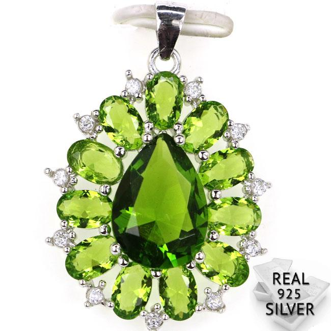 Guaranteed Real 925 Solid Sterling Silver 4.3g Ravishing Green Peridot Cubic Zirconia Woman's Pendant 34x23mm
