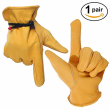 OZERO Mechanics Work Gloves Waterproof Safety Garden Gloves Leather Welding Protective For Glass Handling, Shop Floor Operations