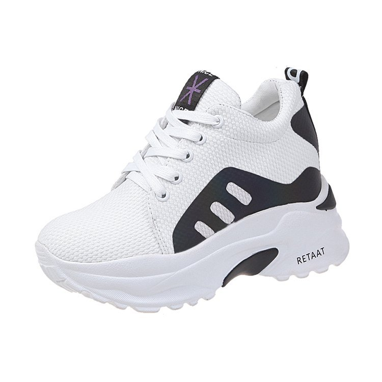 Transpirable Moda Nuevo 2019 Mocasines Cómodo Primavera Fondo De Color Plano Negro Estilo Neto Mujeres Grueso Dazzle blanco Zapatos Cara 4zPgw1q