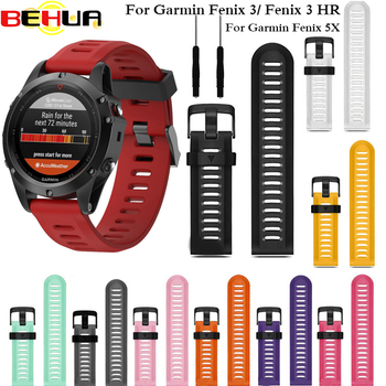 26mm Width Watch Strap for Garmin Fenix 3 Band Outdoor Sport Silicone Watchband for Garmin Fenix 3 HR 5X Plus 6X Pro with tools 26mm stainless steel watch band link remover screwdriver for garmin fenix 3 hr 5x butterfly buckle strap wrist bracelet